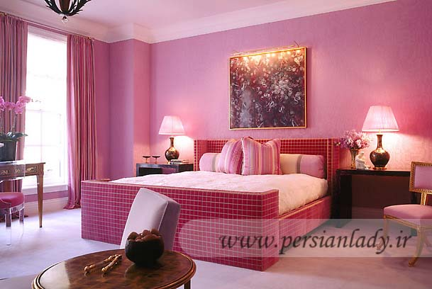 Pink Bedroom Colour Schemes with Charming table Lamps Used Femin