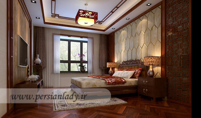 Chinese-master-bedroom-with-beautiful-ornament-accessories-ceiling-design-and-wooden-floor